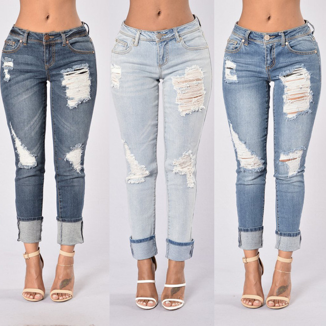 BellFlower Hole Sexy WomanJeans Pant Femme Low Waist Ankle Length Cowboy Women Jeans Ripped Jeans
