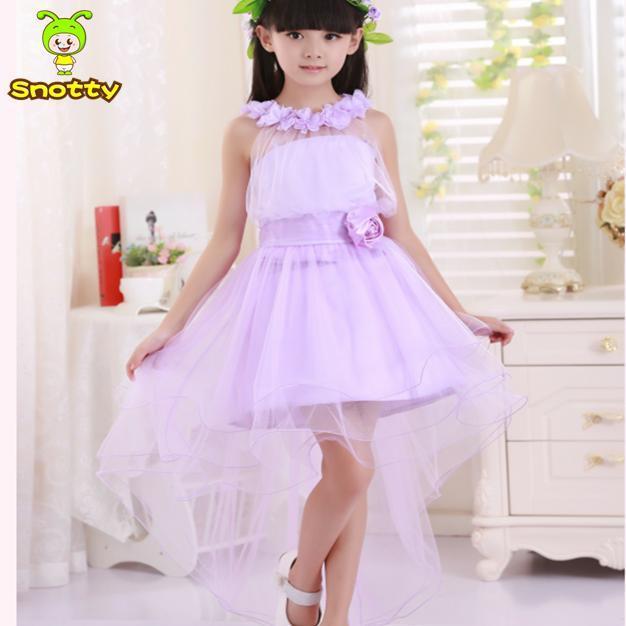 Girls Short In Front Long In Back Purple Flower Girl Dress Summer