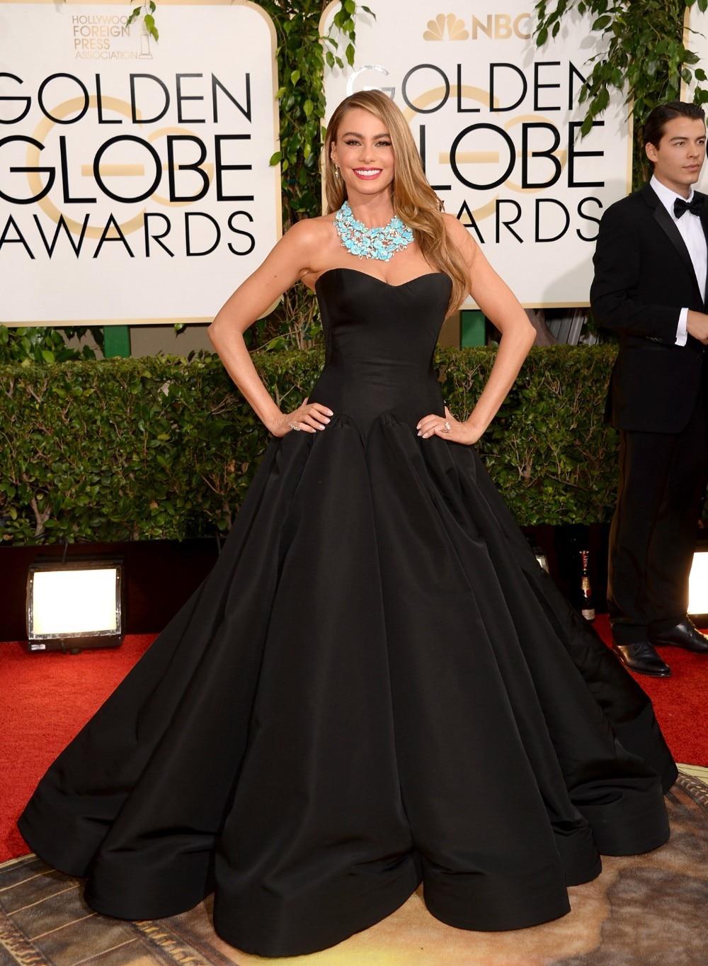 2015 Fashion Black Ball Gown Sofia Vergara Dresses Strapless