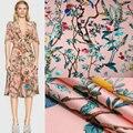 145cm impresso tecido feriado vestido cachecol cetim tecido marca italiana vestuário tecido de poliéster material pano por atacado