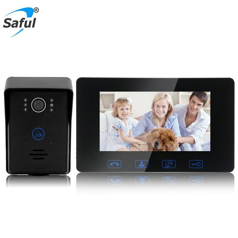 """Saful 7 """"TFT LCD de Vídeo Porta Telefone Com Fio Chave de Toque À Prova D' Água de Visão Noturna Casa Elétrico Função de Desbloqueio de Porta de Vídeo interfone"""