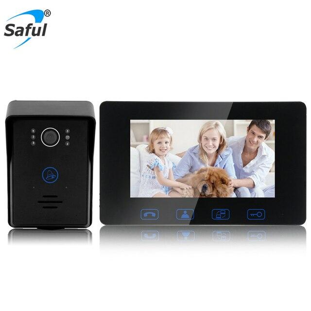 Saful السلكية الفيديو باب الهاتف 7 ''TFT LCD للماء اللمس مفتاح للرؤية الليلية المنزل الكهربائية إفتح وظيفة الباب فيديو إنترفون