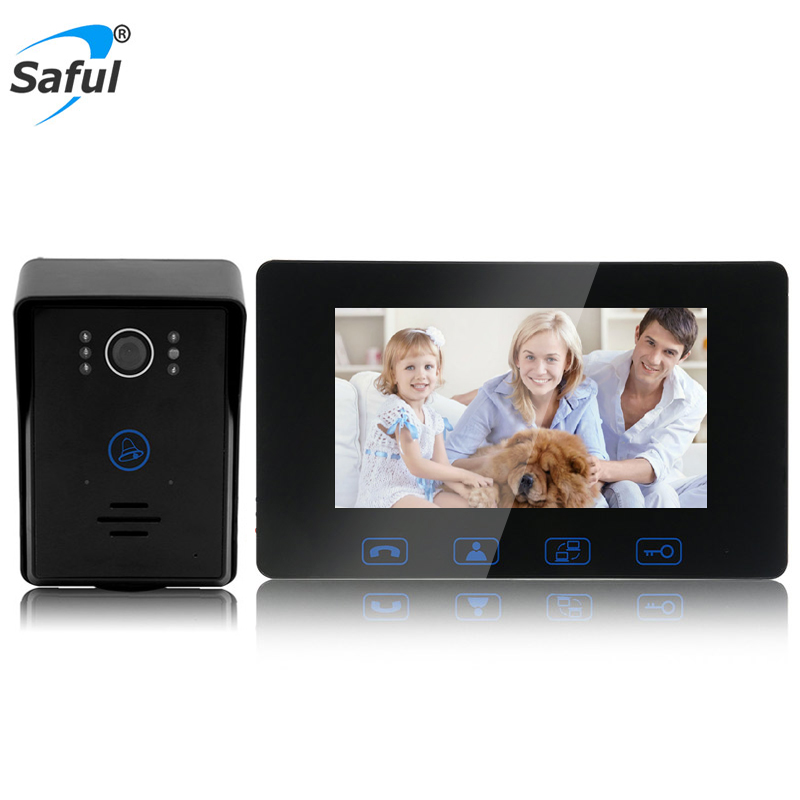 Saful Videoportero con cable Teléfono 7 '' TFT LCD Impermeable Tecla táctil Visión nocturna Inicio Desbloqueo eléctrico Función Puerta Video Intercomunicador