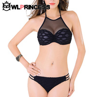 Owlprincess Sexy Lace High Necked Black Bikinis Swimsuit 2016 Women Solid Plaid Checkered Swimwear Bathing Suit