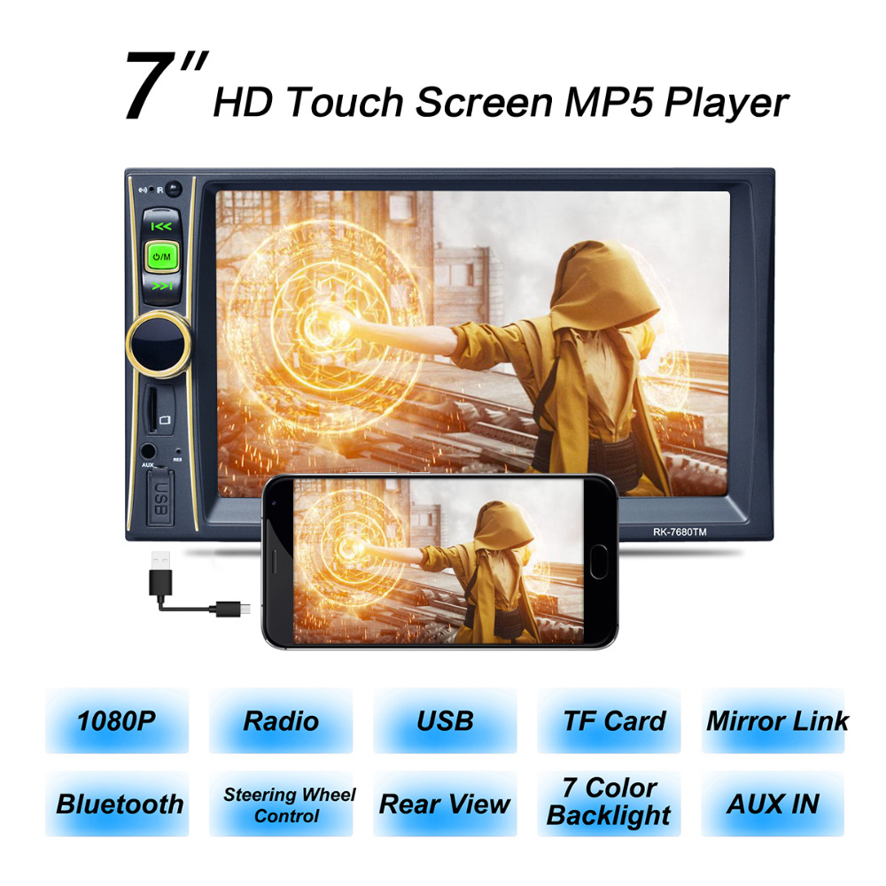 7 Inch 2 Din Bluetooth Auto Car Stereo MP5 Player FM DVR Support Phone / Tablet Connected with GPS for Android Screen Mirroring  car radio mp5 mp4 player stereo fm video bluetooth 2 din 6 6 inch fm for android screen mirroring support rear camera dvr input