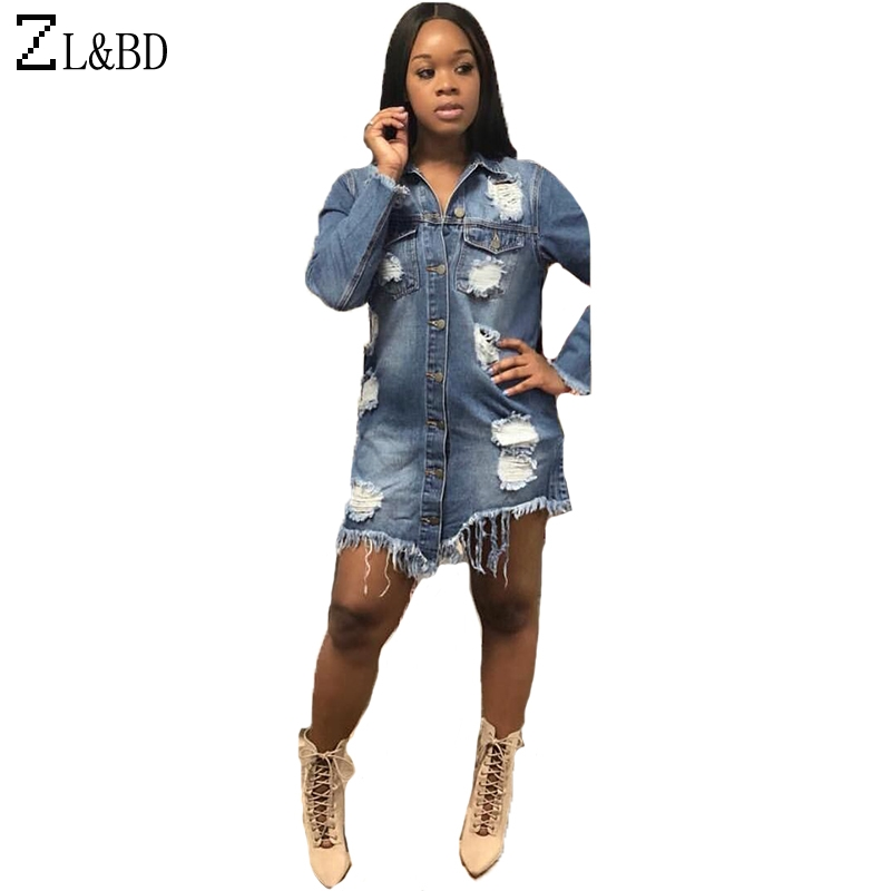ZL&BD chaquetas primavera mujer 2018 Womens Long Sleeve Bomber Jacker Vintage Ripped Hole Long Denim Jeans Jacket and Coat ZA321