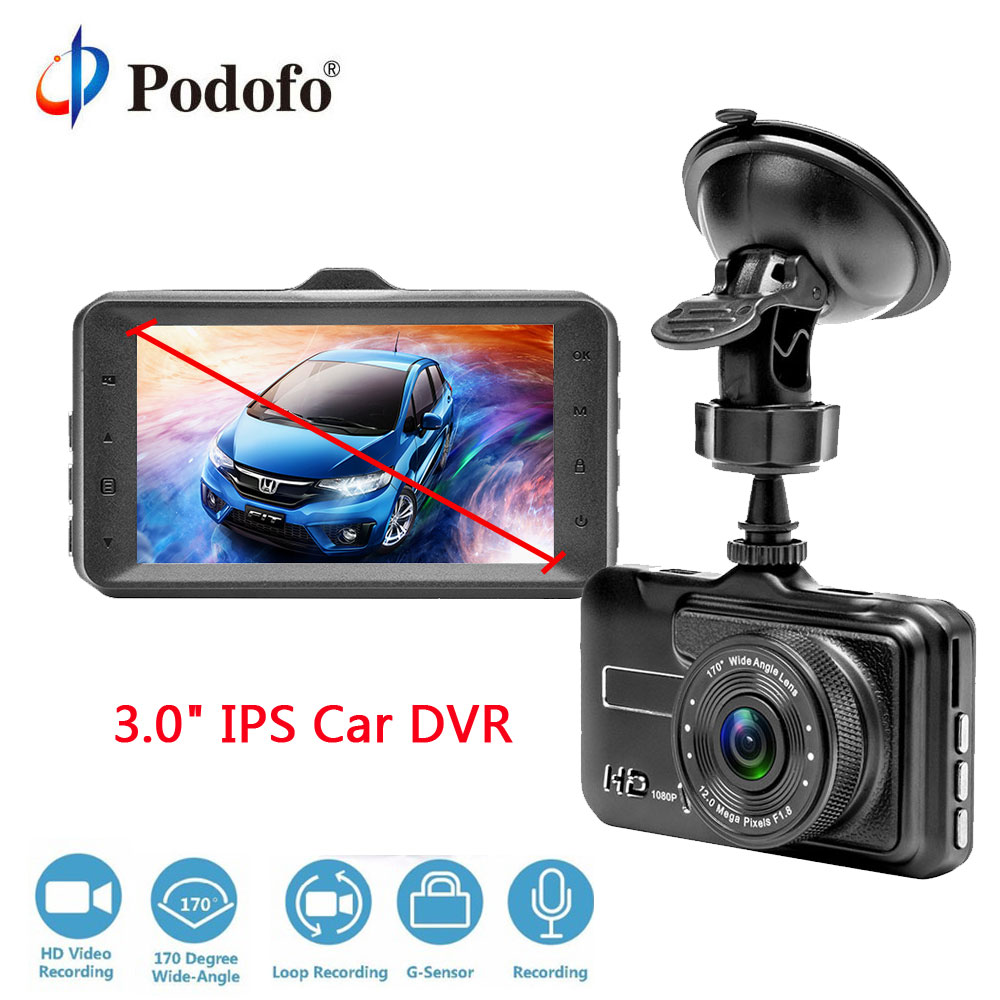 "Podofo Car DVR Camera 1080P FHD 170 Degree angle 3"" DVRs Video Recorder Registrator Night Vision G-sensor Dash Cam for Driving"