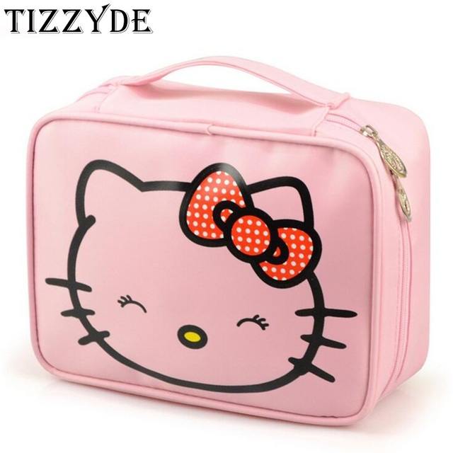 8c357397b Hello Kitty Women Cosmetic Bag Cartoon Nylon Waterproof Professional Wash  Necessaire Travel Toiletry Organizer Make up Bag CQ137
