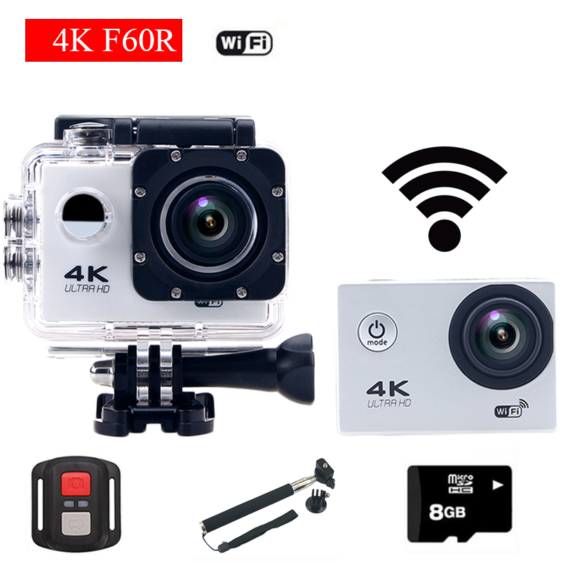 gopro hero 4 style F60R Wifi Action Camera 4K With Remote Controller go pro Helmet Diving Mini Cam Waterproof Sport Camera