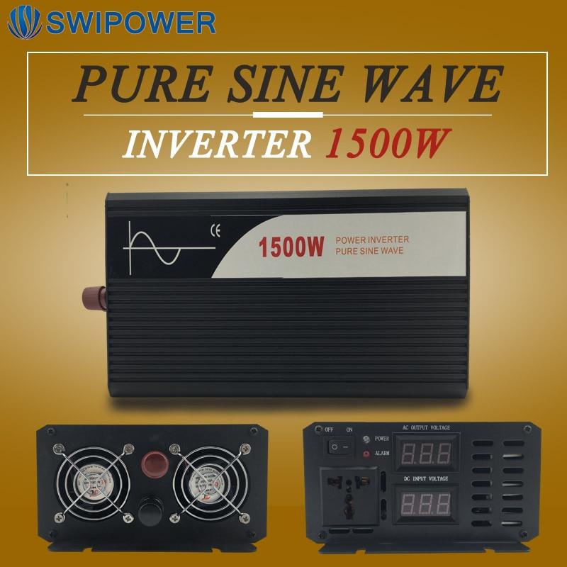 Dc ac inverter 1500 w invertitore puro dell'onda di seno display digitale