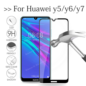Tempered Glass For huawei y5 y6 y7 prime 2019 screen protector on huawe Y 5 6 7 5Y 6Y 7Y prime 2018 Protective safety Film Cover image
