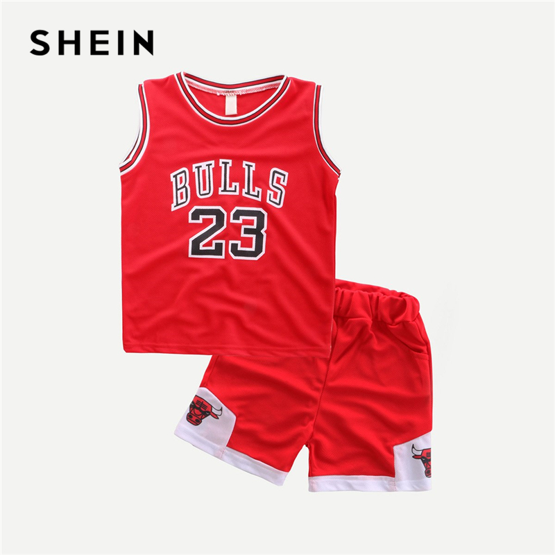 SHEIN Kiddie Red Toddler Boys Letter And Number Print Tee With Shorts 2019 Summer Sleeveless Striped Casual Children Suit Sets casual cat print ringer tee