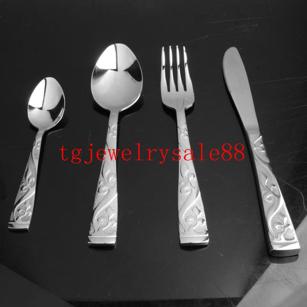 New Design Exquisite Silver Tone Flower Pattern Stainless Steel Dinner Service 4pcs sets Fork Spoon font