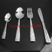 New Design Exquisite Silver Tone Flower Pattern Stainless Steel Dinner Service 4pcs/sets Fork/Spoon/Knife Tableware Flatware Set