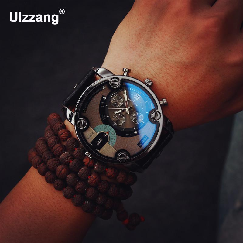 Fashion JIS High Quality Blue Ray Black Brown Leather Band Steel Shell Men Male Quartz Watch Wristwatches Clock