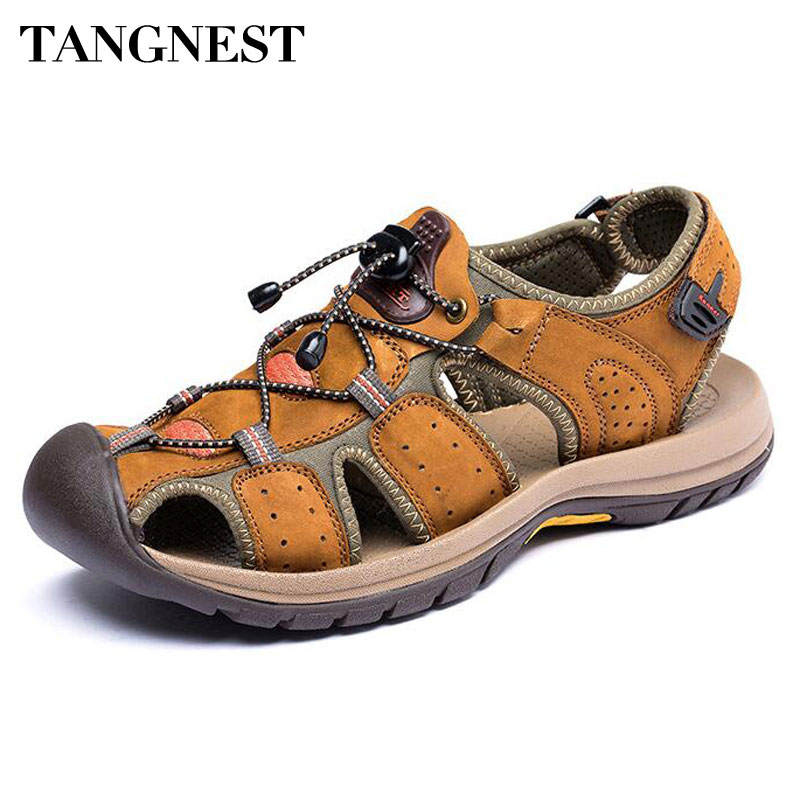 Tangnest Men Gladiator Sandals New 2017 Summer Men Beach Sandals Classic Comfortable Fisherman Shoes Size 38~44 XML219