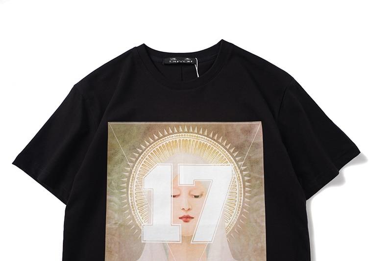 DUYOU Virgem Maria Impresso T-shirts de Manga