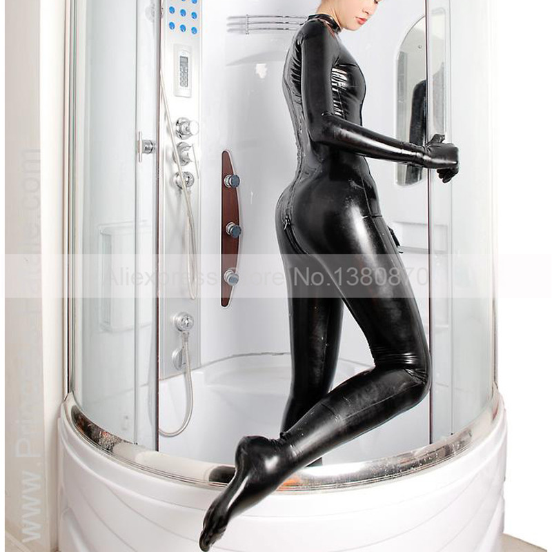 Sexy Women Latex Rubber Zentai Bodysuit Rubber Latex Female Catsuit Clothes Attached to Socks and Gloves