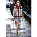 Alta Calidad 2016 Nuevo Otoño Y El Invierno Desfile de Fan Art Print Bow Decoración Collar de Un Solo Pecho de la Chaqueta + Pantalones trajes de Las Mujeres