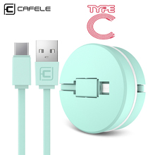 CAFELE USB Type C Cable Data Charging Cable for Huawei P30 P20 pro Xiaomi Mi 9 Samsung S10 S9 Oneplus Retractable Phone Cables