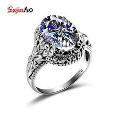 Szjinao обычай украшения обработки Циркон 925 серебро белый кольцо одно кольцо Эдвард антикварные ювелирные изделия Элитный бренд Для женщин кольцо оптовая продажа