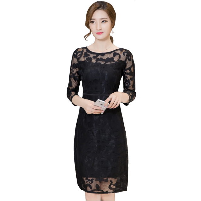 5b2f5c4ed9 US $25.58 25% di SCONTO|Donne Abiti Eleganti Estate Office Lady 3/4 Sleeve  Maglia Cava fuori bodycon breve lace dress dinner party wear vestido de ...