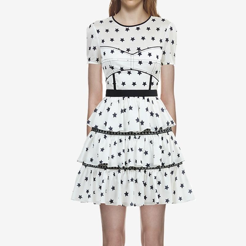 2018 летние женские Self Portrait с принтом со звездами платье взлетно-посадочной полосы Многоуровневое Короткие платья для вечерние