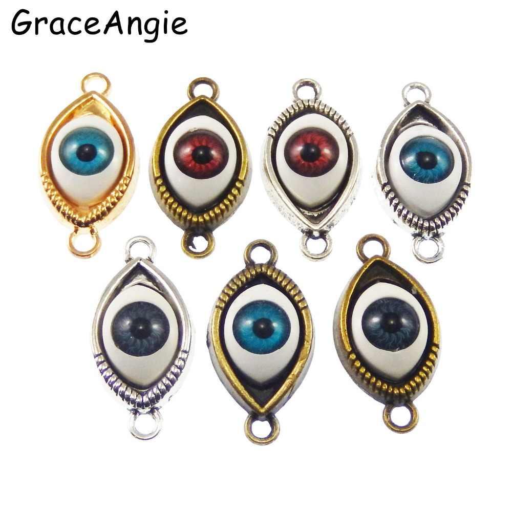 30Pcs 3D พระเจ้า Eye Evil Eyes DIY charms สร้อยข้อมือสัตว์ hamsa evil Eyes สร้อยคอจี้ขายส่ง charm