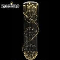Modern Crystal Ceiling Lamp Crystal Lustres De Sala Light Fixture Long Ceiling Lighting With 7 GU10