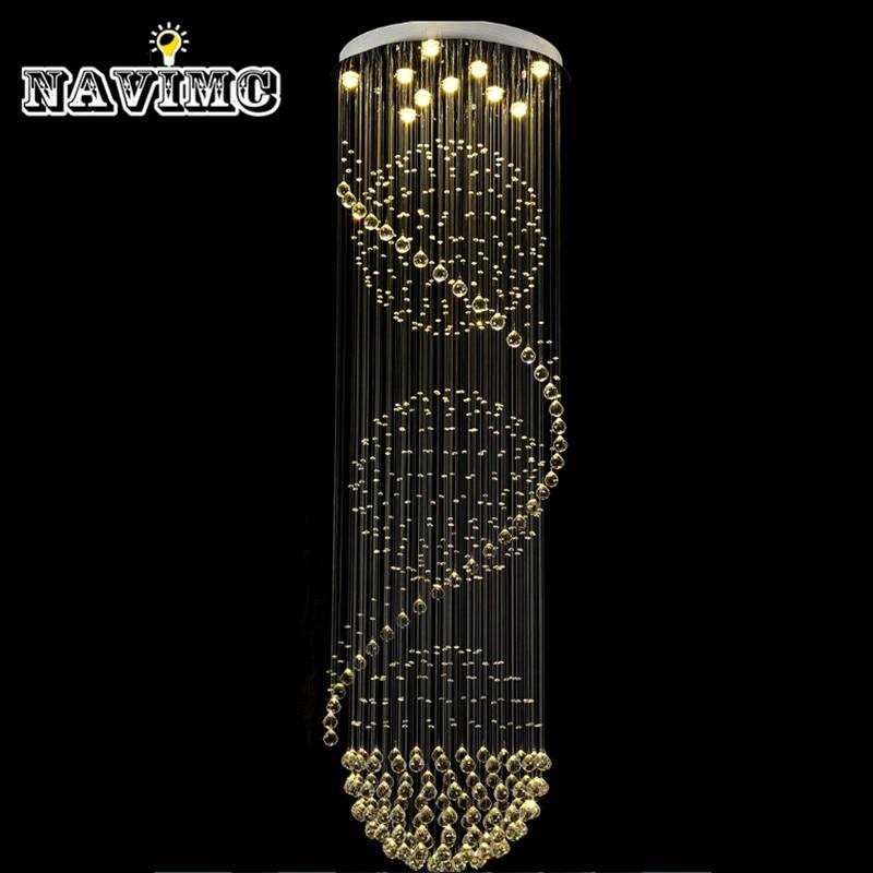 Modern Crystal Ceiling Lamp Crystal Lustres De Sala Light Fixture Long Ceiling Lighting with 7 GU10 Bulbs MC0546 D500mm H2750mm