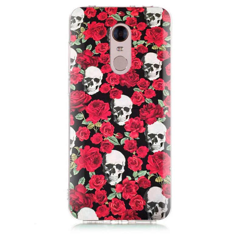 Pour Xiao mi rouge mi 4X Note 3 mi A1 Note 4 Pro 4A Note 5 6 6pro pour rouge mi 5A 6 6A TPU doux cerf crâne peint étui D030