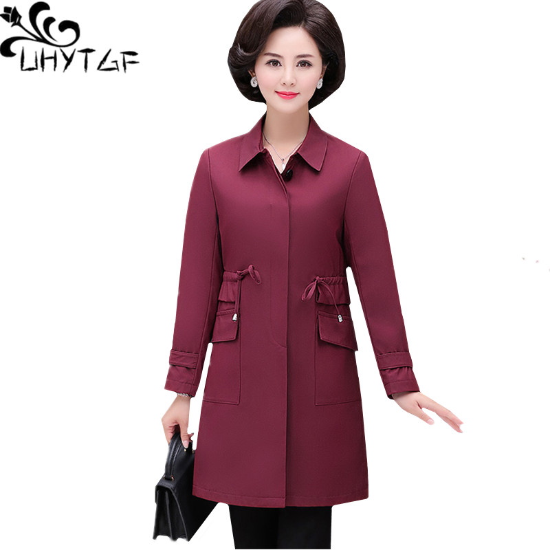 Size Temperament Fashion Top Women 208 Loose Autumn Spring Female 5xl Khaki Wine Coat Ladies Uhytgf Blue Windbreaker Elegant dark Outerwear red Plus xgIOvqn