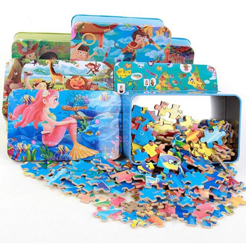 200ks Cartoon Puzzle Box Dřevo Jigsaw s Iron Box Dinosaur Puzzle Narozeninový dárek pro děti Baby Puzzle Box pro děti