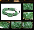 Wonderful Natural Genuine Green HeTian Jade Carved Beads Blessing Bracelet Elastic Bracelets bangle jewelry + box + certificate