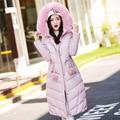 Uwback 2016 New Winter Jacket Women Long Faux Fur Hooded Pink Slim Coat Woman Large Size 2xl Parkas Outwear Mujer TB1190