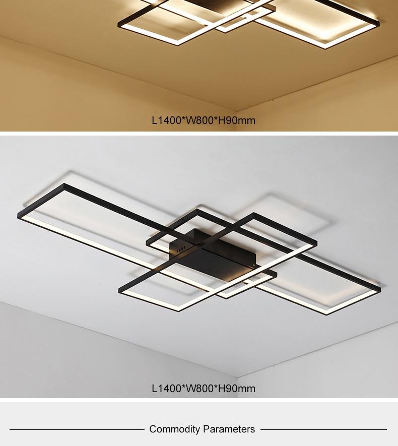 NEO Gleam Rectangle Aluminum Modern Led ceiling lights for living room bedroom AC85-265V White/Black Ceiling Lamp Fixtures