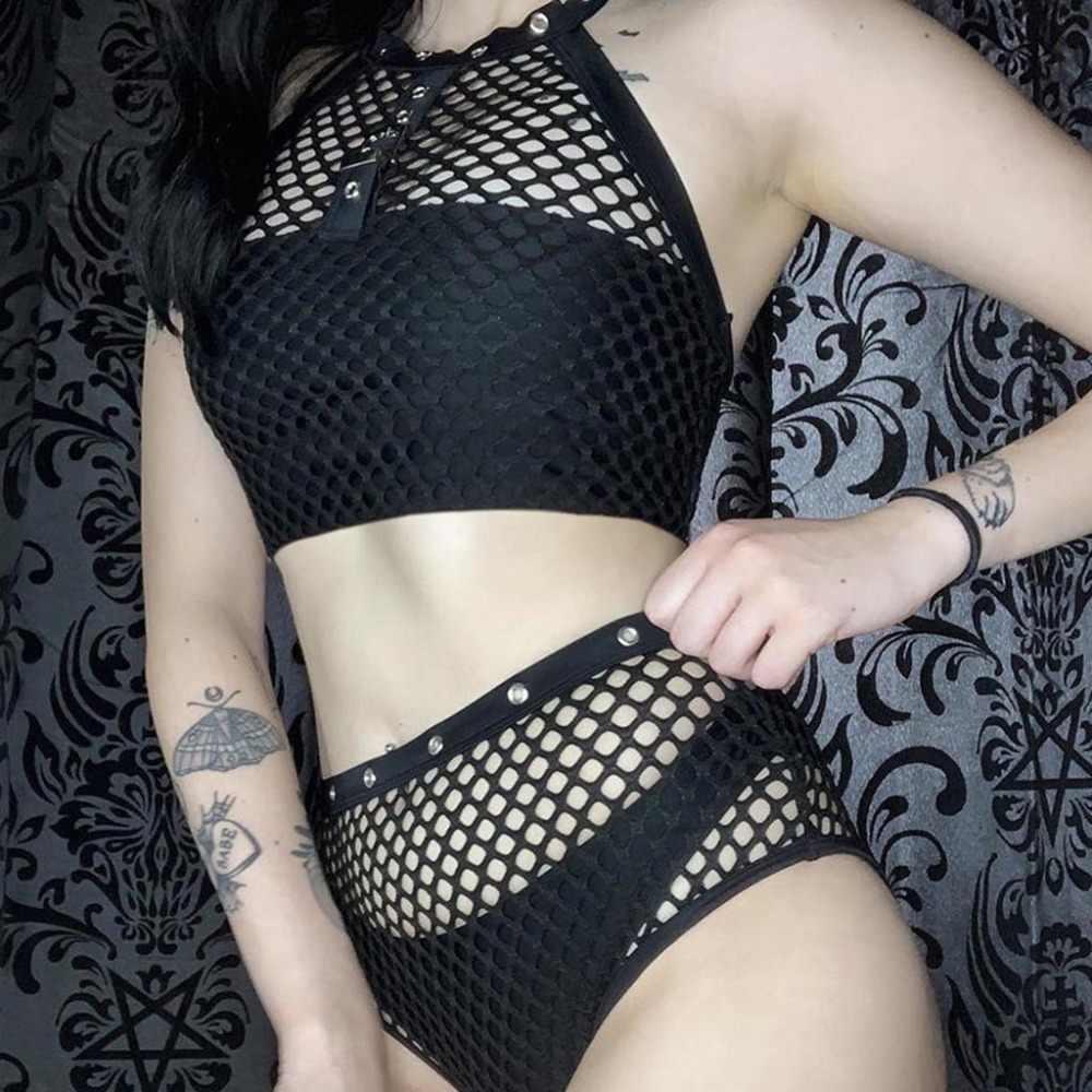 ベストセクシーな固体 O ネックへそメッシュ斜視パッチワーク半袖黒カジュアルトップダーク風女性の夏のベスト mujer 15 #
