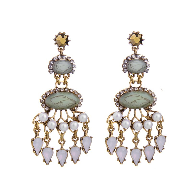 Statement jewelry for women patterned green chandelier earrings online shopping from india - Chandeliers online shopping ...