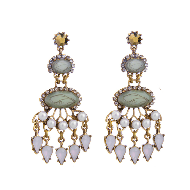 Statement Jewelry For Women Patterned Green Chandelier Earrings Online Ping From India Chunky Dangling