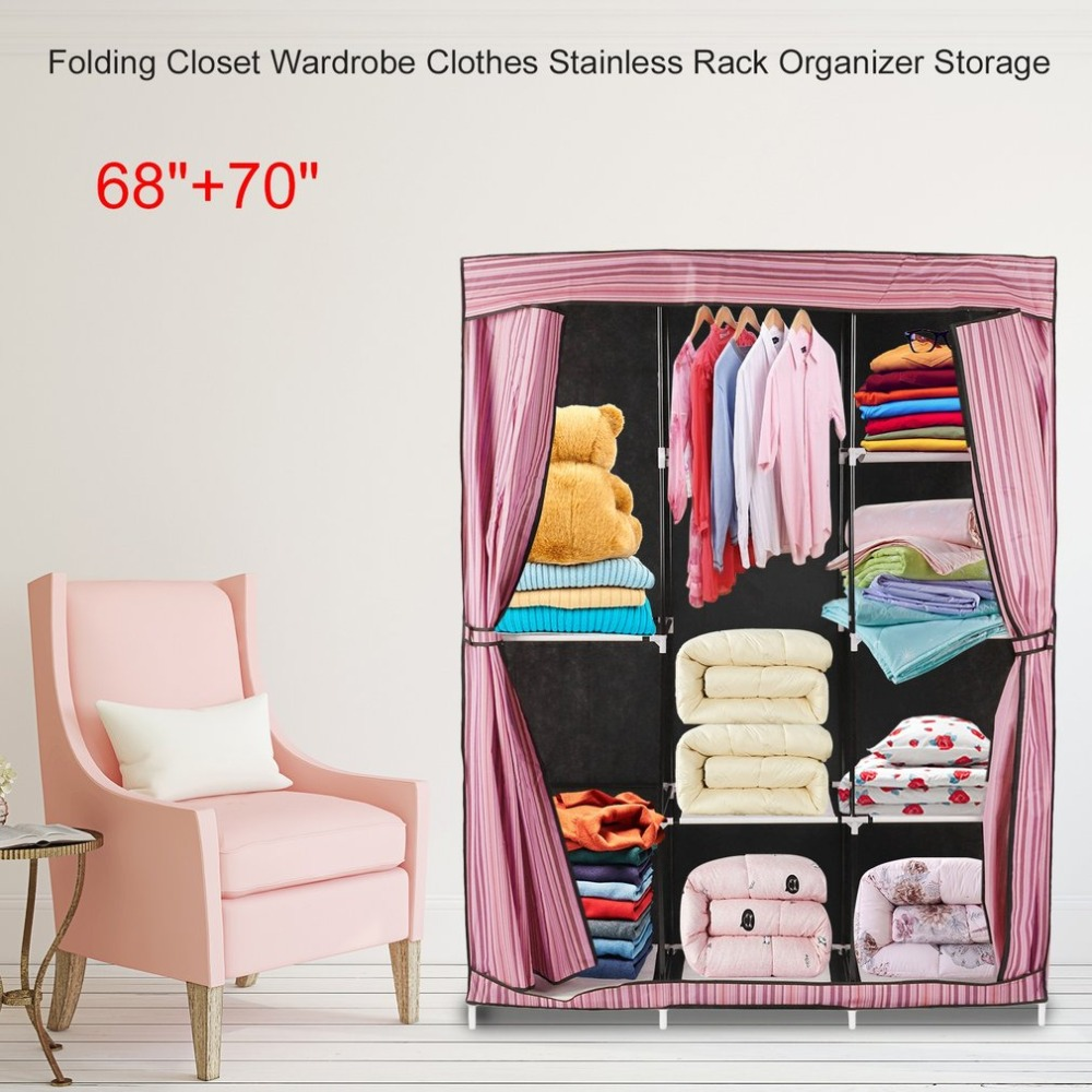 цена на Simple Design Folding Closet Wardrobe Clothes Stainless Rack Organizer Storage Wardrobe Cabinets