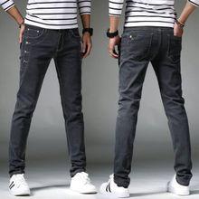 2a9da7cab4 Jeans 2018 nueva moda estilo coreano High Street Slim Fit botón  personalidad de la vendimia clásica pantalones vaqueros pantalon.