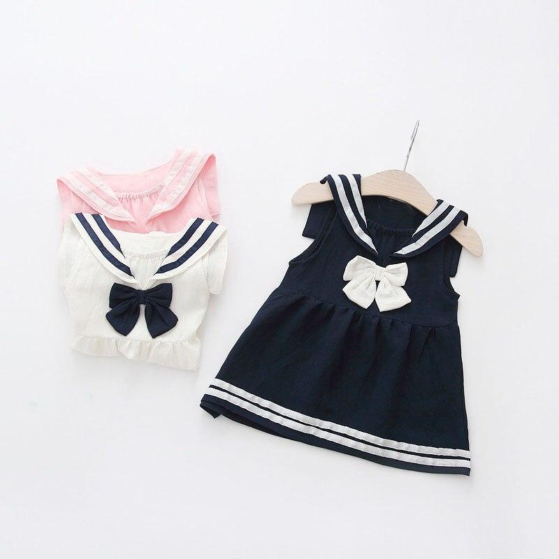 WYNNE GADIS Baby Girls Summer Preppy Style Lapel Collar Bow Sleeveless Kids Dress Infant Sundress vestido
