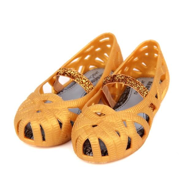 Mini Melissa  Girls Sandals 2017 Jelly Shoes Waterproof Sandals Girls Roman Sandals Breathable Beach Shoes Princess Shoes