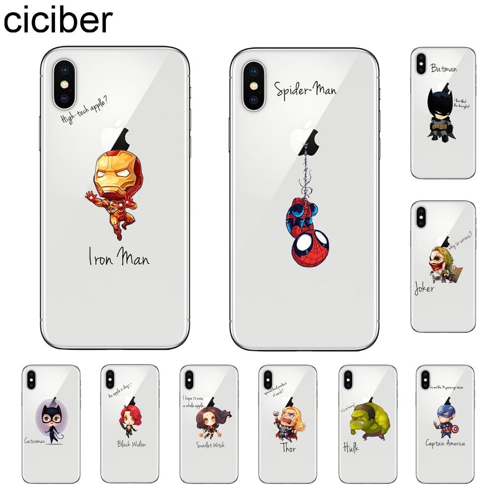 Ciciber Phone-Cases Tpu-Cover Joker Marvel Spiderman Batman Catwoman 6s-Plus XR DC