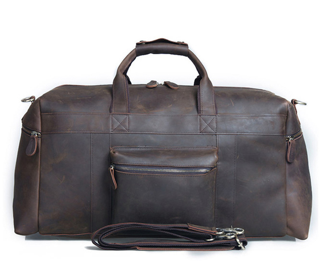 4691191d76e6 Vintage Crazy Horse Leather Men Travel Bags Luggage bag Large Genuine Leather  Duffle Bag Men Weekend Bag Overnight big Tote