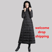 DF High Quality Cotton Double Breasted Long Coat Women Winter Parka Plus Size X Long Jacket Warm OL Style Outwear Fur Cap 6450