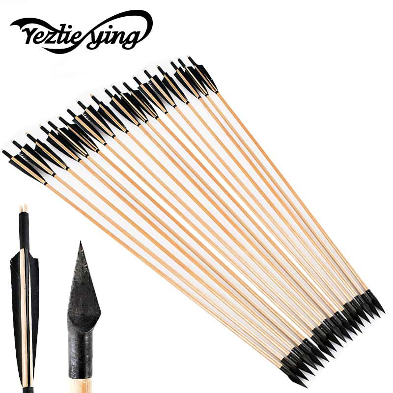 Hunting 12 Pcs 33 Inches Handmade Natural Wooden Arrows With Black Turkey Feather And Iron Arrowhead For Bow Archery Shooting