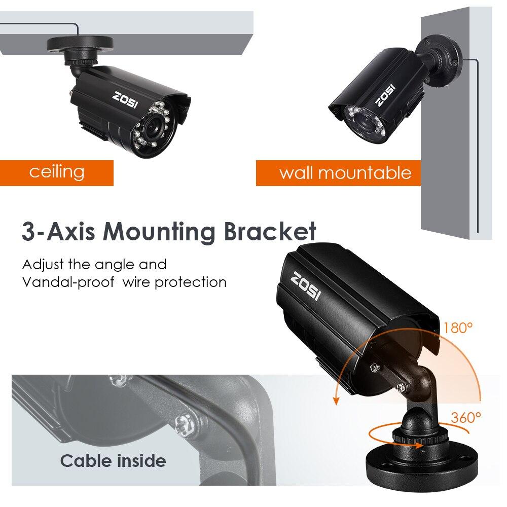 Image 4 - ZOSI 720P 1MP TVI/AHD/CVI/Analog CCTV Nightvision Motion Sensor Waterproof Bullet Camera-in Surveillance Cameras from Security & Protection