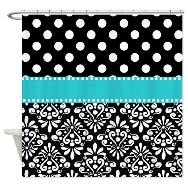 Black Turquoise Damask Decorative Fabric Shower Curtain 69x70 In