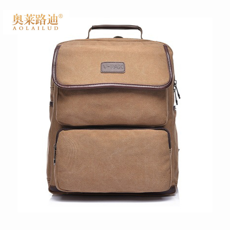 AOLAILUD New Style Canvas Men Backpack For 15 inches Laptop Large Capacity Students Shoulder Backpacks Casual Vintage Male Bags new fashion simple style students canvas shoulder bag large capacity backpack change pouch four sets for girls boys